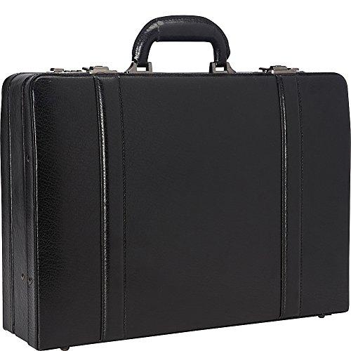 """Mancini 4"""" Leather Expandable Attache Case - Black"""