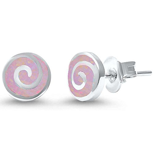 Sterling Silver Round Lab Created Opal Swirl Earrings Blue or White Available (Lab Created Pink (Round Swirl Top)