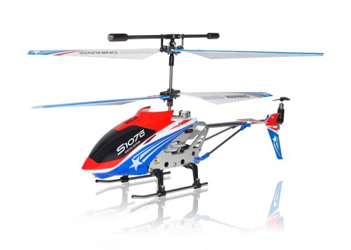 A Set of 2 Brand New Genuine Syma S107G 3 Channels Mini Indoor Co-axial Metal Body Frame & Built-in Gyroscope Rc Remote Controlled Helicopters (1) Special Edition American Flag Colors Theme and (1) Red Color with 2 AC Chargers
