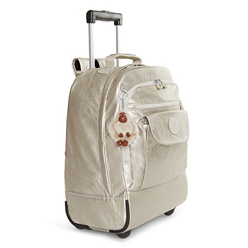Image result for Kipling Women's Sanaa Metallic Rolling Backpack One Size Silver Beige Snake