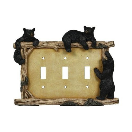 Rivers Edge Products Bear Triple Switch Electrical Cover Plate - Edge Plate