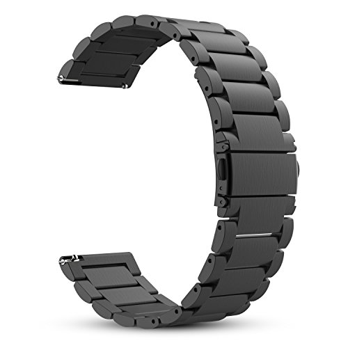 for Gear S3 Frontier/Classic Watch Band, Fintie 22mm Stainless Steel Metal Replacement Strap Bands for Samsung Gear S3 Frontier / S3 Classic and Moto 360 2nd Gen 46mm Smartwatch - Black by Fintie