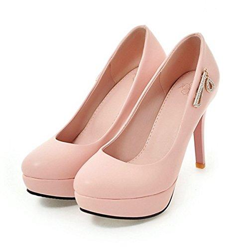 DIMAOL Chaussures Pour Femmes PU Printemps Automne Nouveauté Confort Talon Aiguille Talons Bout Rond Pour Rivet Mariage & Soirée Rouge Rose Noir Blanc,Rose,US8.5/EU39/UK6.5/CN40