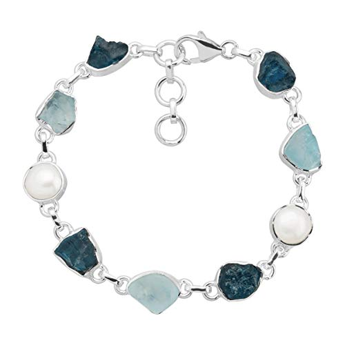 Silpada 'Ice To Meet You' Natural Apatite & Blue Topaz with 9 mm Freshwater Cultured Pearl Bead Bracelet in Sterling Silver