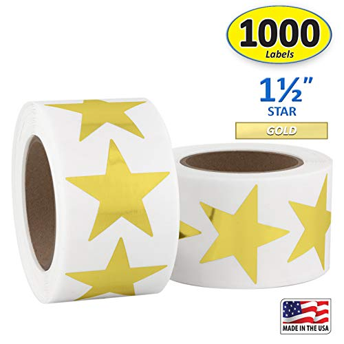 Gold Metallic Star Shape Foil Sticker Labels, 500 Labels per Roll, 2 Rolls in The Package, 1 1/2 inch Diameter, 1.5