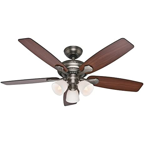 Hunter Fan Company 53052 Conway 52 Inch Antique Pewter Ceiling Fan With Five Cherried Walnut Burnt Walnut Blades And A Light Kit