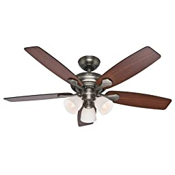 Hunter Fan Company 53052 Conway 52-Inch Antique Pewter Ceiling Fan with Five Cherried Walnut/Burnt Walnut Blades and a Light Kit