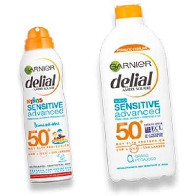 Garnier Delial Kit Sensitive Niños: Leche Protectora Solar IP50+, Spray Protector Solar Bruma Anti-Arena IP50+ y Balón de playa - Leche 400 ml, Spray 200 ml