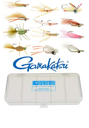 (Discountflies Bonefish & Permit Flats Fly Collection 12 Flies + Fly Box)