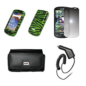 EMPIRE Black Leather Case Pouch with Belt Clip and Belt Loops + Green and Black Zebra Skin Design Snap-On Cover Case + Mirror Screen Protector + Car Charger (CLA) for Samsung Epic 4G
