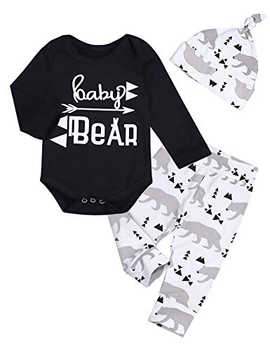 Newborn Baby Boys Clothes Long Sleeve Baby Bear Print Pants Outfit Sets + Hat(6-9months) - Hats Kids Clothing
