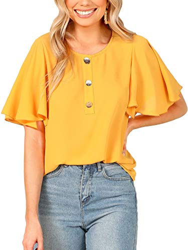 Milumia Women's Round Neck Button Front Butterfly Sleeve Blouse Tops Ginger L