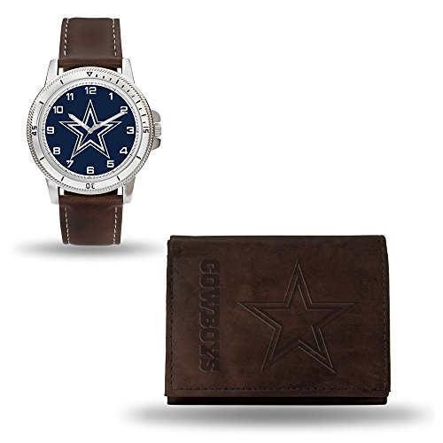 Roy Rose Gifts NFL Dallas Cowboys Brown Leather Watch & Wallet -