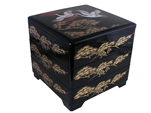 (Japanese Lacquer Longevity Cranes Three Tiers Stack Lunch Bento Box)