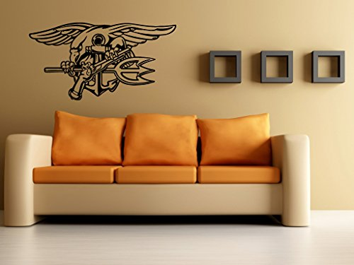Navy Seals Decal Navy Seals Sticker Seal Trident Navy's Sea, Air, Land Teams Special Operations Force G4048 (22x42)
