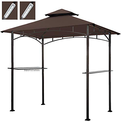 Keymaya 8x5 Grill Gazebo Shelter for Patio and Outdoor Backyard BBQ's, Double Tier Soft Top Canopy and Steel Frame with Bar Counters, Bonus LED Light X2 (Brown)