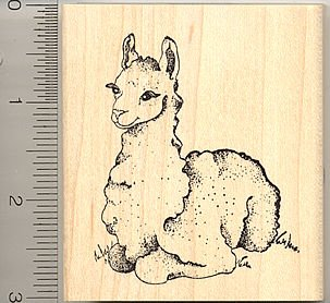 Cute Llama Rubber Stamp (Cria) - Wood Mounted