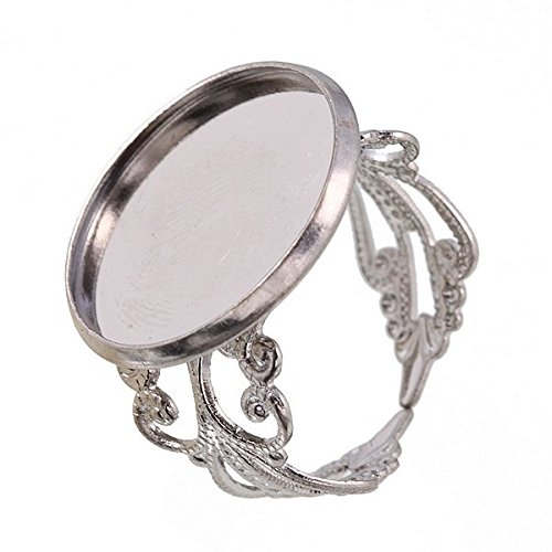 (50pcs Silver Tone Adjustable Filigree Blank Round Disc Setting Beading Ring Disc Jewelry Findings 18mm Jz21 )