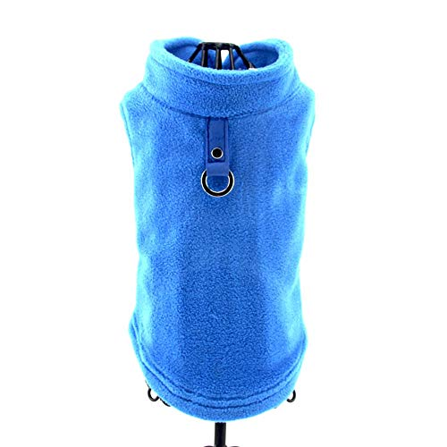 PAWSFECT Fleece Autumn Winter Pet Dog Vest Harness Clothes with Pocket for Small Medium Dogs (M, Blue)