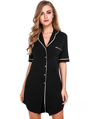 Sweetnight-Women-Short-Sleeve-Nightgown-Button-Front-Boyfriend-Sleep-Shirt-Pajamas-Lounge-Sleepwear-Maternity-S-XXL