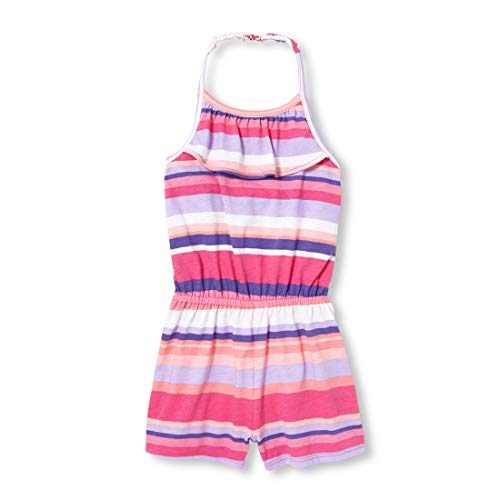 (The Children's Place Baby Girls Printed Halter Neck Ruffle Romper, Sweet Princess, 4T)