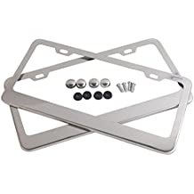 Tokept Polish White Stainless Steel License Plate Frame with 2 Holes(Pack of 2)