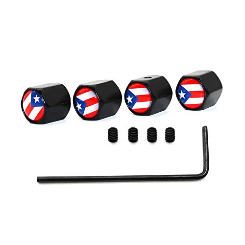 - Anti-Theft Puerto Rico National Flag Tire Valve Dust Caps Dustproof Tire Cap Valve Stem Caps for Cars,5 Pcs/Set (Black)