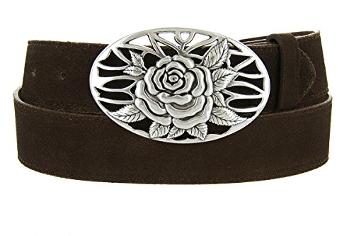 Silver Rose And Vines Buckle With Genuine Suede Leather Belt Strap In Brown - Suede Leather Belt Strap