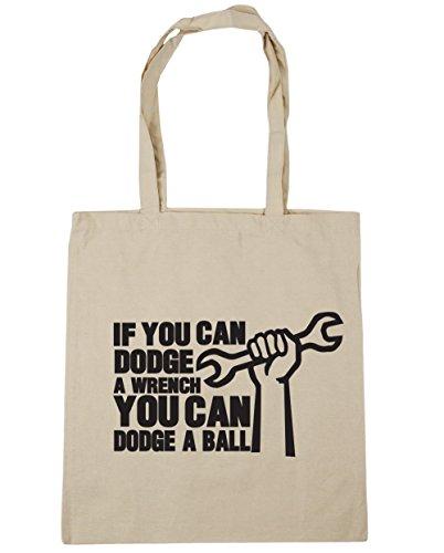 HippoWarehouse si puedes Dodge una llave puede Dodge una bola bolsa de compras bolsa de playa 42cm x38cm, 10litros Natural