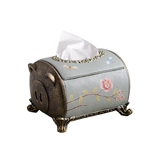JUIANG Cute Small Pig Tissue Box Children's Room Tissues Box Living Room Coffee Table American Retro Napkin carton Boy Girl Home Paper Roll canister (L20cmW15.5cmH13.5cm)