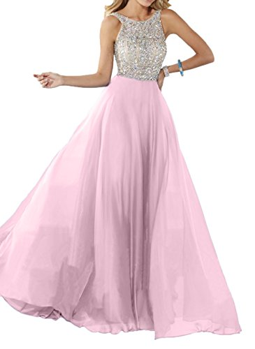 Steine A Charmant Promkleider Blau Rosa Langes Chiffon Damen mit Partykleider Abendkleider Linie Ballkleider Silber SZS7R8q