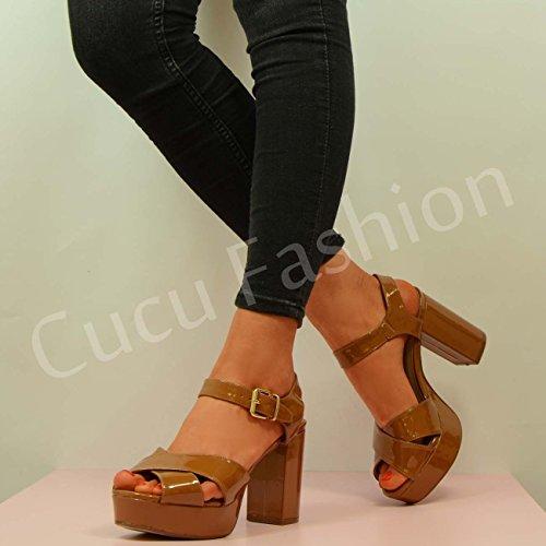 Cucu Fashion - talón abierto mujer Marrón - Tan Patent