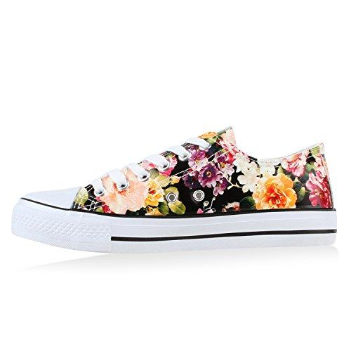 Damen Sneakers Blumen Freizeitschuhe Denim Sneaker Low Schuhe Stoffschuhe Turnschuhe Flandell Schwarz Blumen