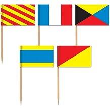 Beistle 60093 50-Pack Nautical Flag Picks, 2-1/2-Inch