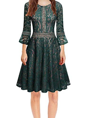 Manche Pagode Dentelle Coutures De Confortables Femmes Évasé Une Robe Swing Ligne Verte