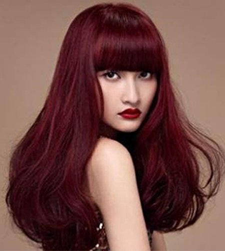 Wigs for Women Red Wine Wig Synthetic Women's Wigs 25Inch Long Wavy Wonderful Natural Wig (Red Wig With Bangs)