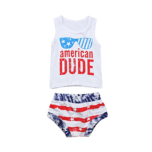 - Lookvv Infant Baby Toddker Boy Summer Clothes 2pc Vest + Shorts 4th of July Outfit American Dude