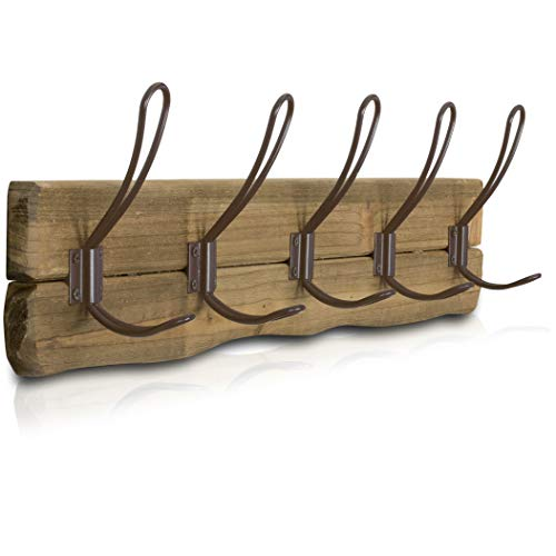 Bedroom Oak Coat Rack - LULIND - Rustic Wall Mounted Coat Rack with 5 Brown Hooks (Real Cedar Wood)