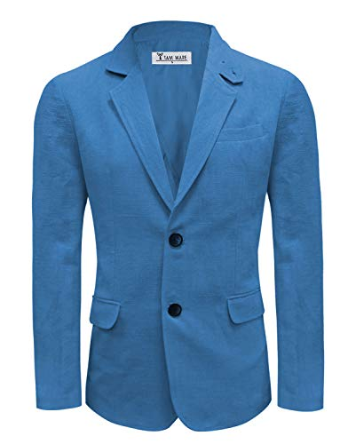 Single Breasted Two Button Sport Coat - TAM WARE Men Casual Two Button Notched Lapel Single Breasted Linen Blazer TWJ8218-BLUEORANGE-US L