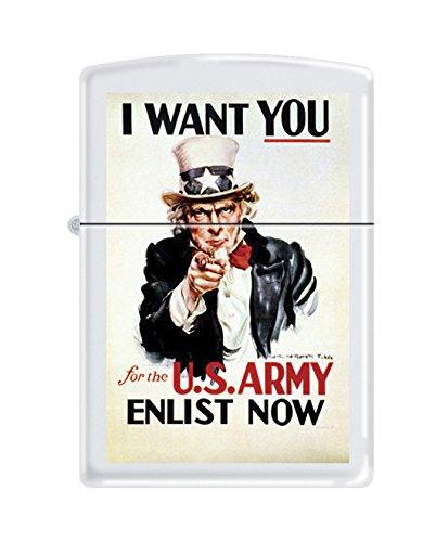 Vintage Uncle Sam - Zippo US Army Uncle Sam White Matte Pocket Lighter