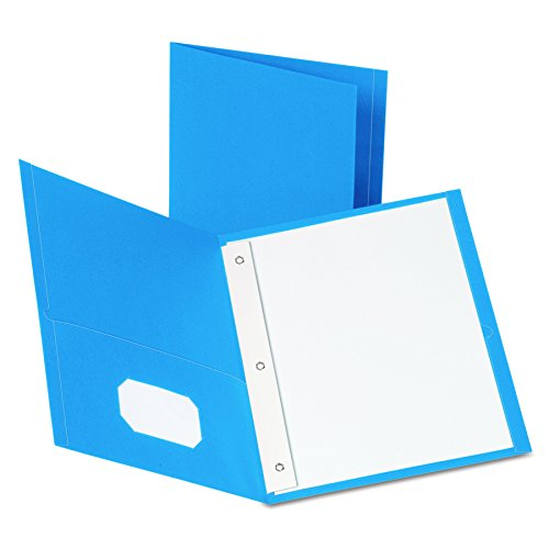 Oxford Twin Pocket Folders with Fasteners, Letter Size, Light Blue, 25 per Box (57701)