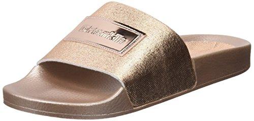 D. Franklin Damen Canvas Metal Slides Peeptoe Sandalen Gold (Salmon)