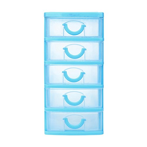 AmyDong Storage Box Drawer Case, Durable Plastic Mini Desktop Drawer Sundries Case Small Objects (XL, Blue) (Drawer Blanket Chest)