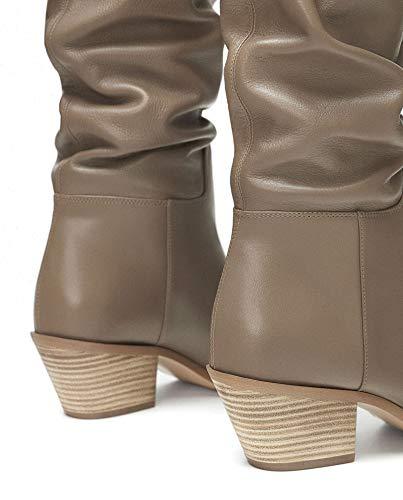 Zara Bottes en 5055 301 Femme Plates Cuir rRwqrf5