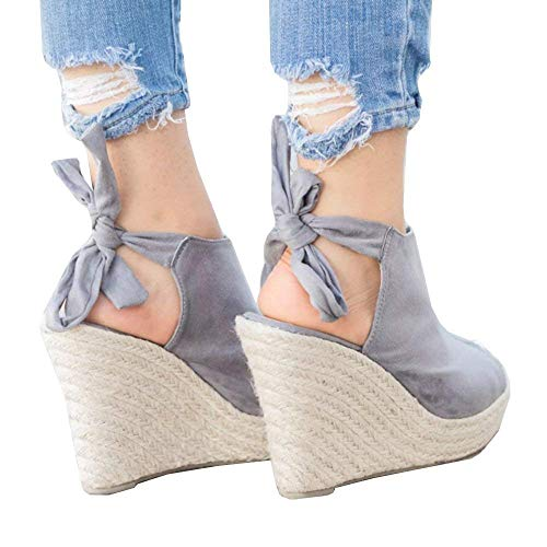 - SySea Womens Wedge Sandals Peep Toe Tie Up Ankle Strap Espadrille Cut Out Platform Shoes