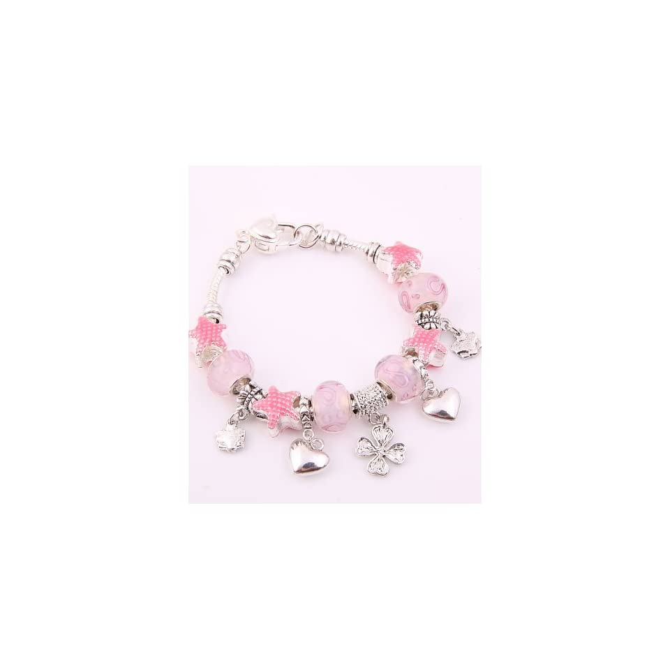 Fashion Jewelry Desinger Murano Glass Bead Bracelet with Star Pattern Pink