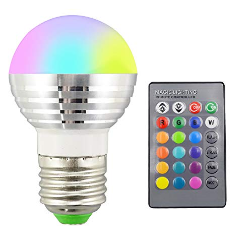 [Christmas Lights, LED Lights]-1Pc 16 Colors RGB Christmas Decor Atmosphere 3W LED Night Light Bulb + IR Remote,Christmas Decoration