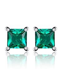 JewelryPalace Square Created Ruby Created Sapphire Nano Russian Simulated Emerald 925 Sterling Silver Stud Earrings