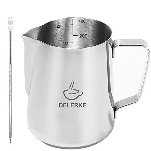 (Milk Pitcher -Stainless Steel Measurements On Side Creamer Frothers Cup With Latt Art Pen (14oz))