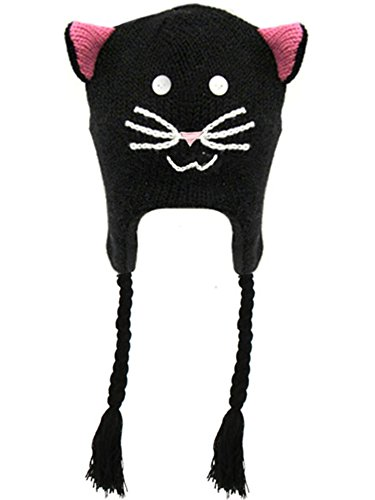 Simplicity Knit Pilot Animal Beanie Hat with Ear Flaps and Tassel, Black (Holloween Custumes)